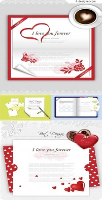 A variety of Valentine s Day greeting cards vector material