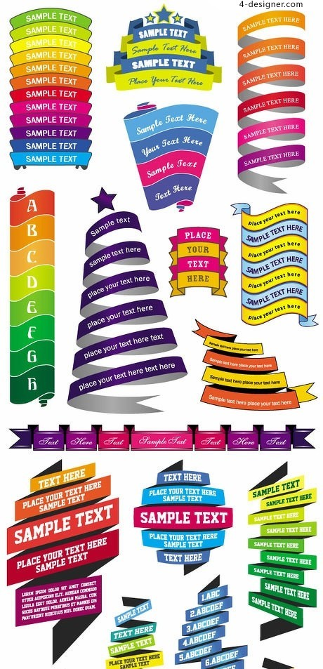 A variety of commercial promotion ribbon text box vector material