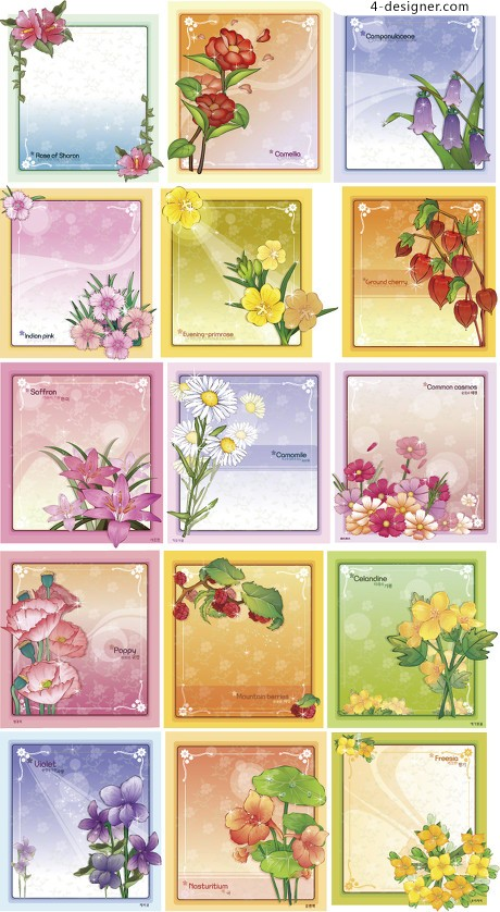 A variety of elegant flower pattern border vector material 02