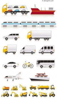 A variety of transportation vehicles vector material