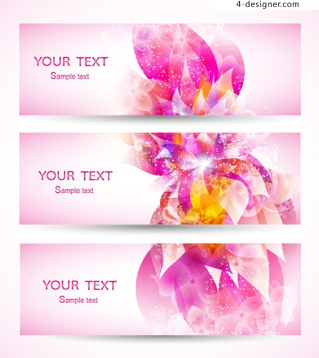 Bright pink pattern banner vector material