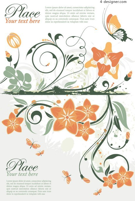 Butterfly flower card vector material