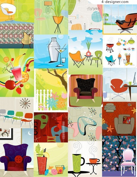 Chairs theme vector material