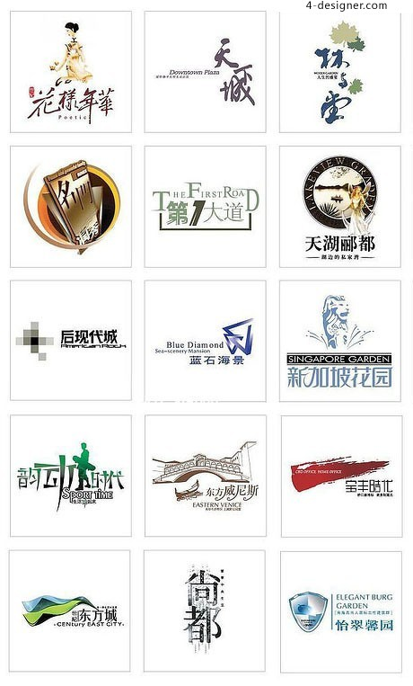 Chinese real estate LOGO elements 06 Vector material