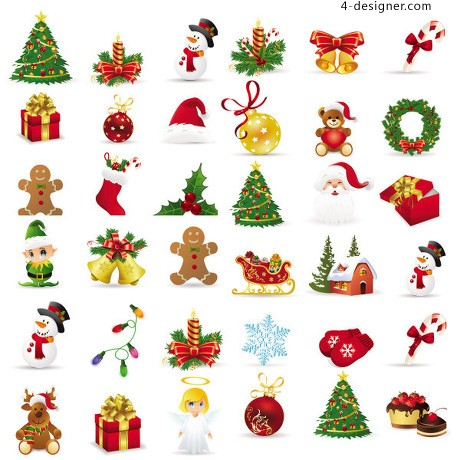Christmas exquisite icon vector material