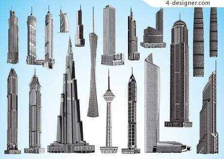 City building vector material