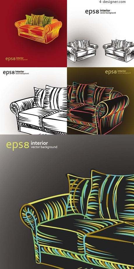 Color painted contours sofa vector material