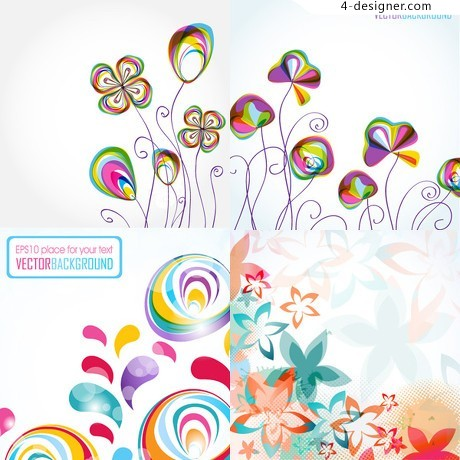 Colorful floral background pattern vector material