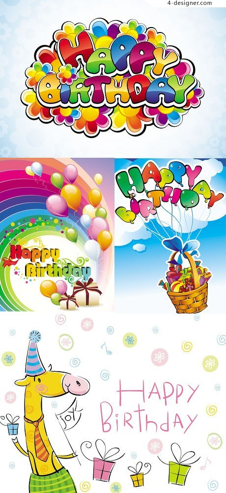Colorful happy birthday vector material