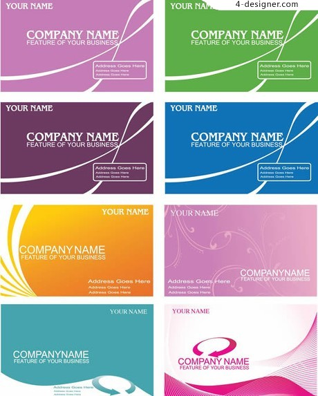 Curved lines and elegant tone business card vector material