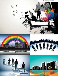 Design elements of the trend of urban theme vector material