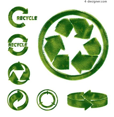 Environmental theme green turf puzzle material cycle arrow articles