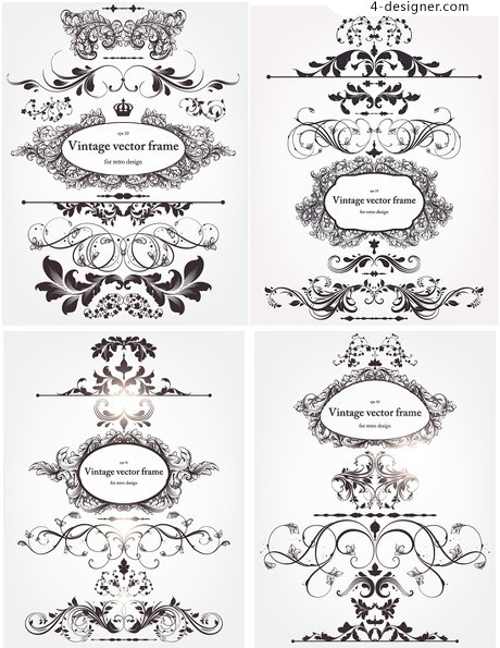European style lace pattern vector material