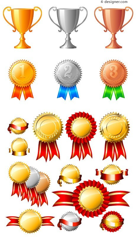 Exquisite medal trophy vector material