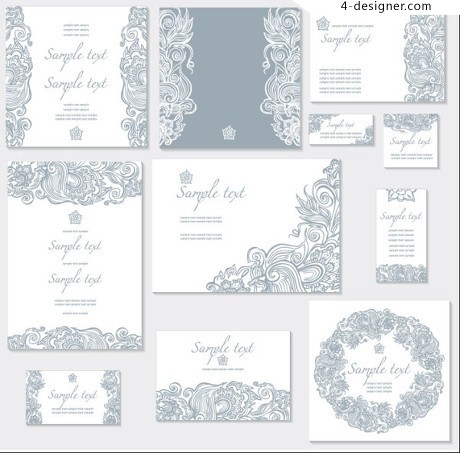 Exquisite pattern cards vector material 01