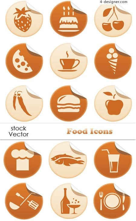 Food theme stickers icon vector material