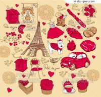 French romantic red theme vector material