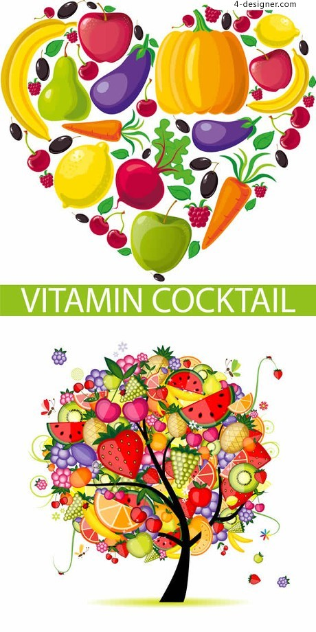 Fruits and vegetables combined pattern vector material