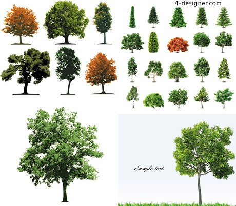 Green trees vector material