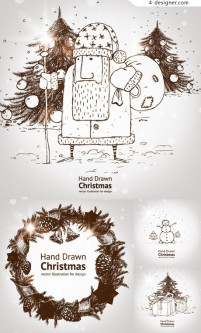 Hand drawn sketch effect Christmas background vector material 02
