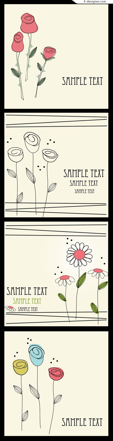 Hand painted flowers vector material