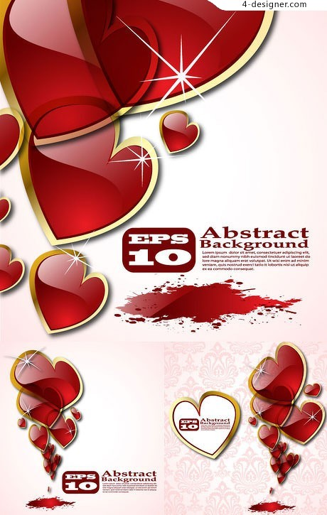 Heart shaped crystal texture of the background vector material