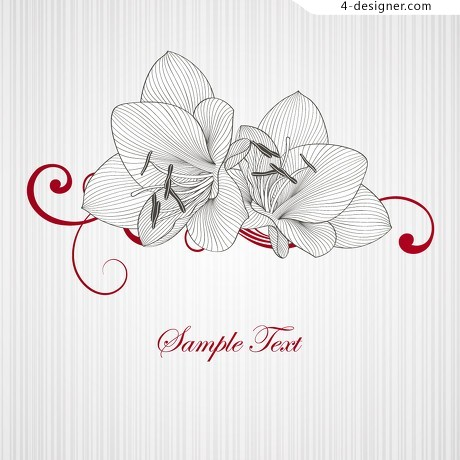 Lily line drawing vector material