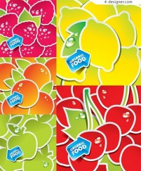 Lovely fruit stickers vector material