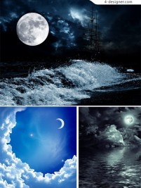 Night scenery HD clips vector material