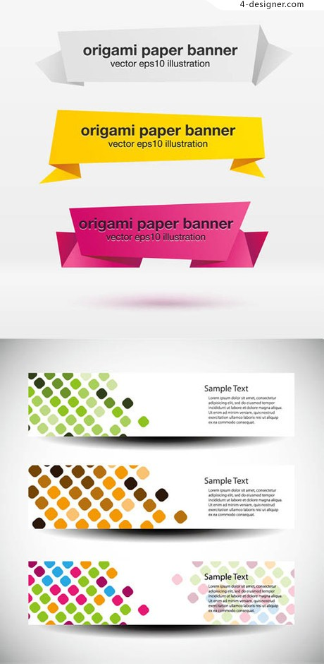 Origami Banner element vector material