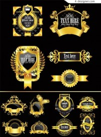 Ornate gold frame icon vector material