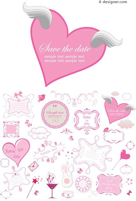 Pink Lovely element vector material