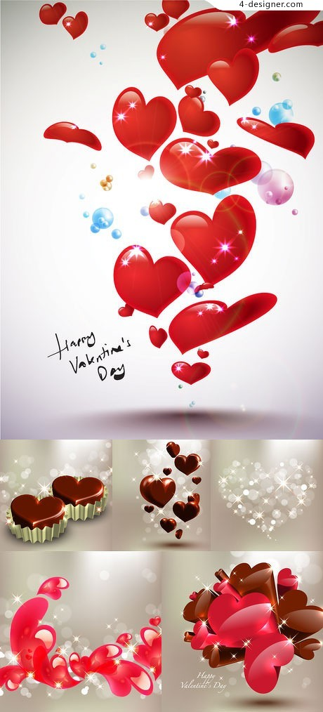 Star studded romantic heart shaped vector material