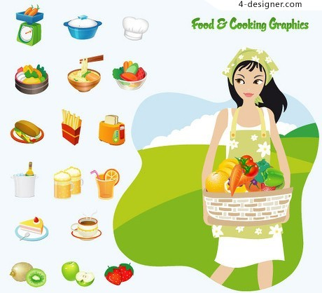 Tempting foods rich vector material