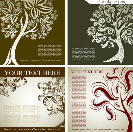 Trees abstract pattern background vector material