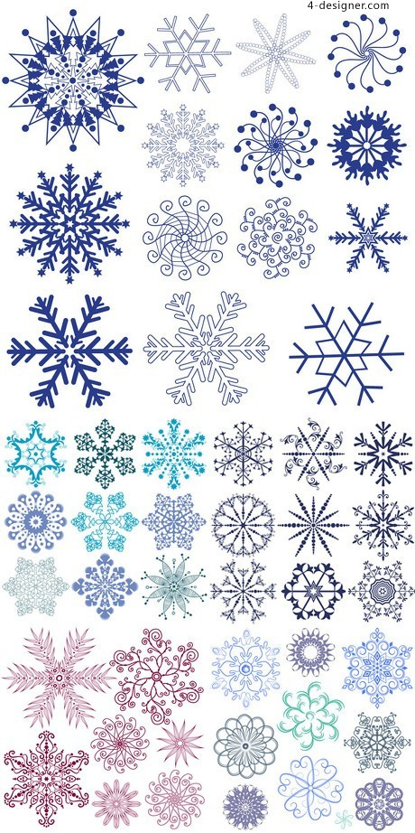 Variety of snowflake graphics vector material
