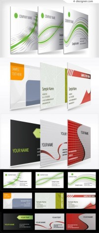 3D diagram showing the effect of business cards vector material
