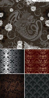 5 Obscure wallpaper classical vector material