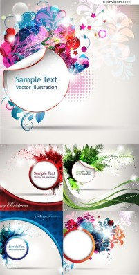 5 gorgeous Christmas theme vector material textbox