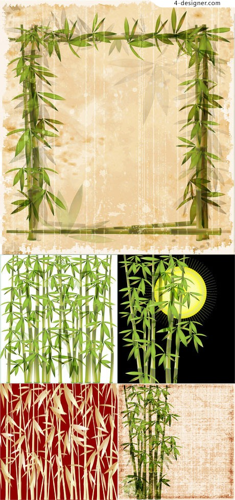 Bamboo background vector material