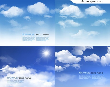 Beautiful blue sky background vector material