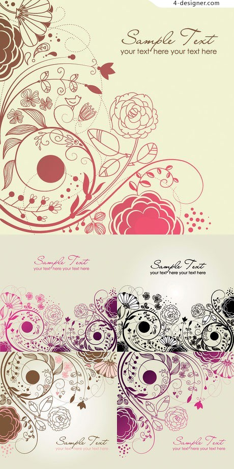 Beautiful fashion pattern vector material