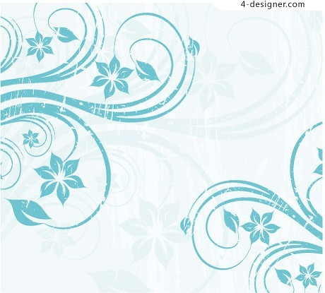 Blue flower vine background vector material