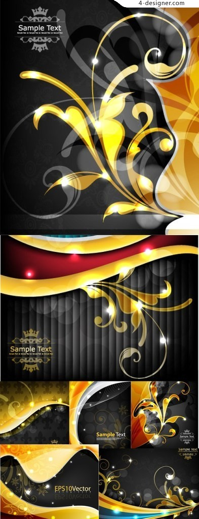 Bright flashes of gold flowers background vector material