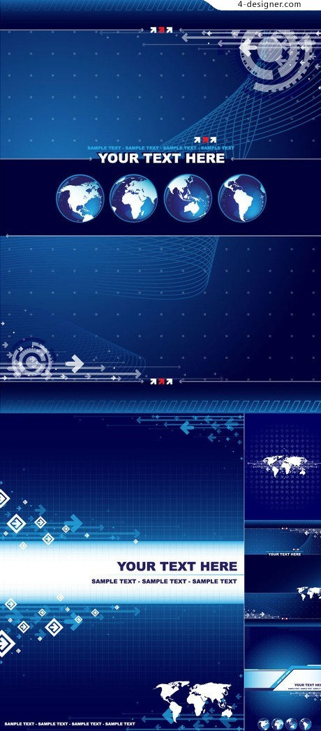 Business Blue Earth background vector material