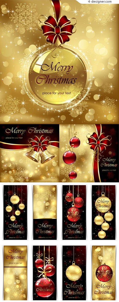 Colorful Christmas ornaments shading banner vector