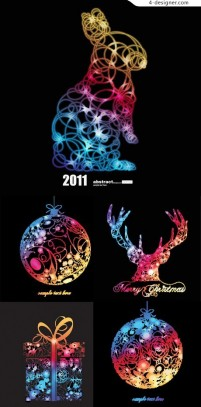 Colorful Christmas theme abstract graphics vector material