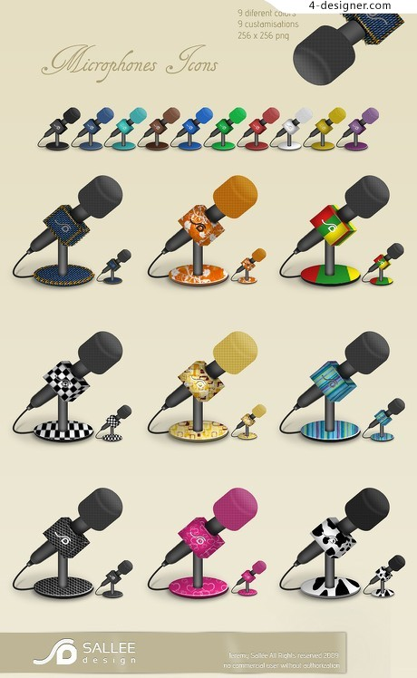 Colorful microphone icon material