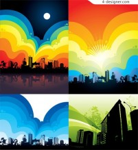 Colorful urban theme vector material