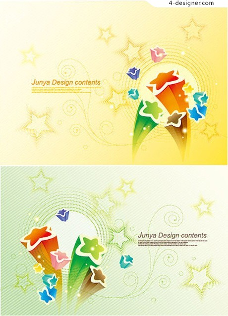 Cute 3D star background vector material